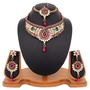 Vendee Fashion Austrain Diamond Modish Necklace Set - Pink & Green _ 8440