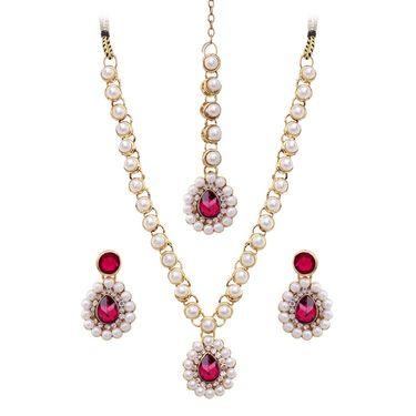 Vendee Fashion Kundan Necklace Set - Pink _ 8443A