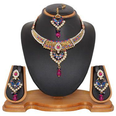 Vendee Fashion Kundan Elegant Necklace Set - Blue & Pink _ 8478