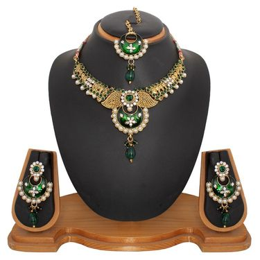 Vendee Fashion Pearl Latest Indian Jewellery Set - Green _ 8479