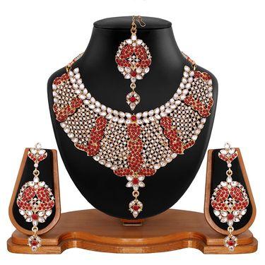 Vendee Fashion Adorable Bridal Necklace Set - Maroon _ 8499