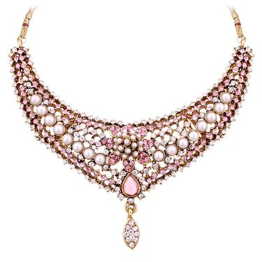 Vendee Fashion Pearl Studded Necklace Set - Pink _ 8500