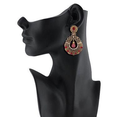 Vendee Fashion Glass Drop Textured Earrings - Pink & Golden _ 8531