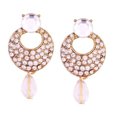 Vendee Fashion Kundan Studded Earrings - White _ 8604G