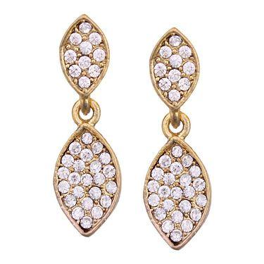 Vendee Fashion Austrian Diamond Leafy Design Earrings - White _ 8608E