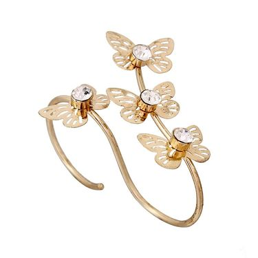 Vendee Fashion Golden floral Double Finger Ring - Golden _ 8613