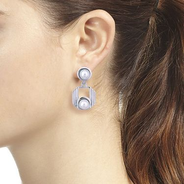Vendee Fashion Pearl Todays Trend Earrings - Silver _ 8616