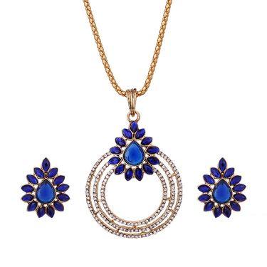 Vendee Fashion Stylish Pendant Set - White & Blue