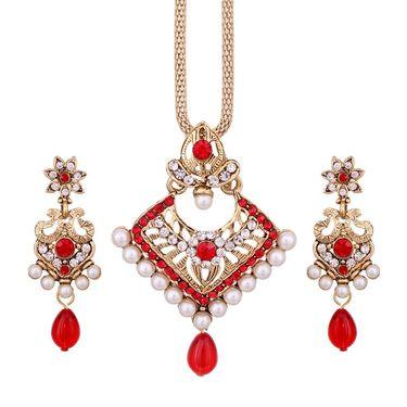 Vendee Fashion Stylish Pendant Set - Red