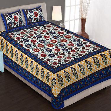 Set of 8 King Size Cotton Jaipuri Sanganeri Printed Bedsheets With 16 Pillow Covers-X108C6