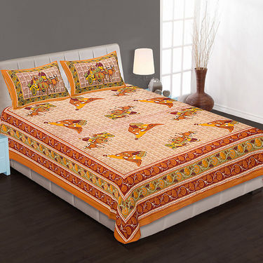 Set of 4 Cotton King Size Jaipuri Sanganeri Printed Bedsheets With 8 Pillow Covers-90x108B4C3