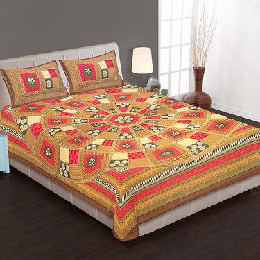 Set of 4 Cotton King Size Jaipuri Sanganeri Printed Bedsheets With 8 Pillow Covers-90x108B4C7