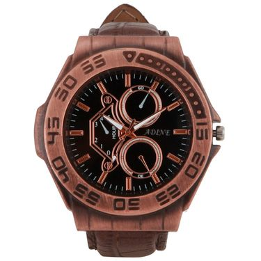 Adine Round Dial Analog Watch For Men_Ad1001 - Brown