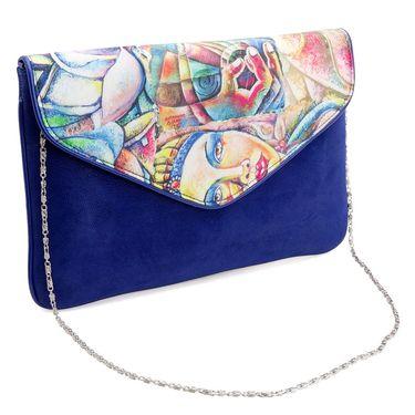 Arisha Leather +Satin  Sling Bag AE14b  -Blue