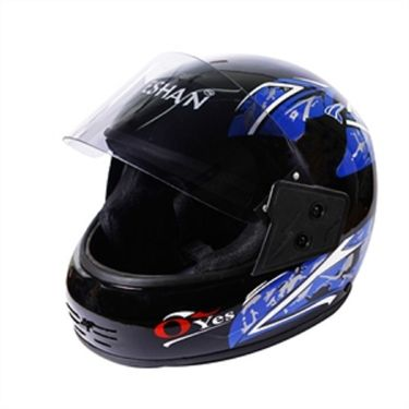 Branded Eshan Oyes Black Full Face Helmet Blue Graphics