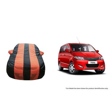 Autofurnish Stylish Orange Stripe Car Body Cover For Chevrolet Enjoy  -AF21130