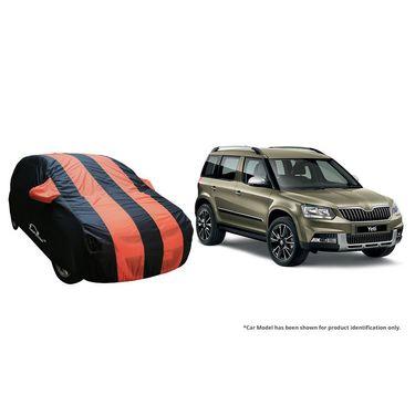Autofurnish Stylish Orange Stripe Car Body Cover For Skoda Fabia  -AF21225