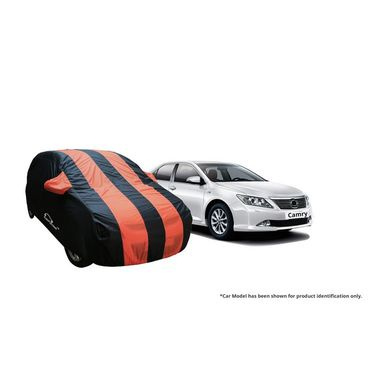 Autofurnish Stylish Orange Stripe Car Body Cover For Toyota Etios Liva -AF21235