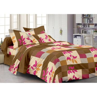 Storyathome Cotton Brown 1 Double Bedsheet With 2 Pillow Cover-AR1220