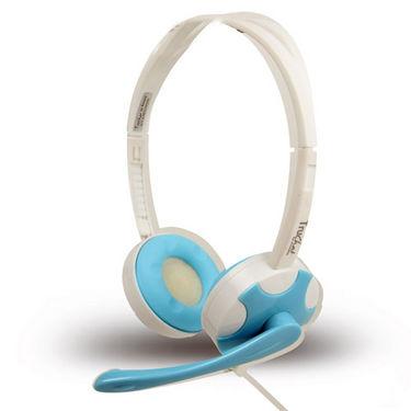 Amkette Truchat Technic Headphones - White & Blue