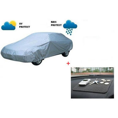 Combo of AutoSun Car Body Cover for Hyundai T-3 Sonata Embera (2008 - 2012) - Silver + Non Slip Mat