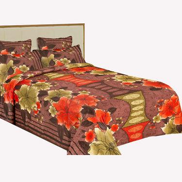 Bazar Villa Cotton King Size Double Bed Sheet with 2 Pillow Cover - Multicolor- RCA3101