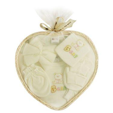 Montaly Heart Shape 9 Piece Baby Gift Set - Cream