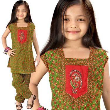 Little India Bagru Designer Sanganeri Cotton Salwar Suit - DLI3GED104C