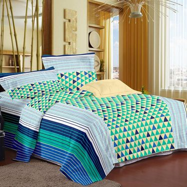 Storyat Home 100% Cotton Double Bed Sheet With 2 Pillow Covers-MG1268