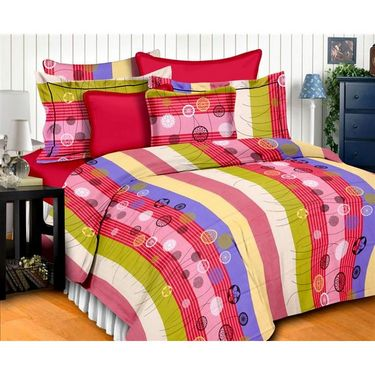 Story @ Home 186 TC 100% Cotton Multi Colour 1 Double Bedsheet With 2 Pillow Cover-MT1211