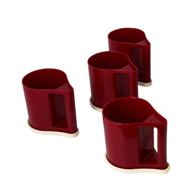 Kitchen Duniya Set Of 4 Bliss Coffee Mugs-Wine Red