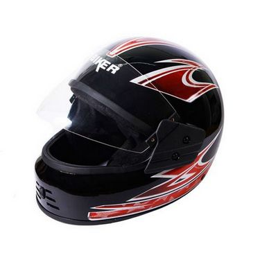 Branded Biker Black Full Face Helmet Red Graphics