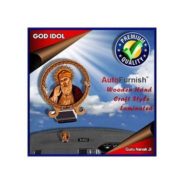 Branded God Idol Guru Nanak Ji Dashboard Wooden Hand Craft Style