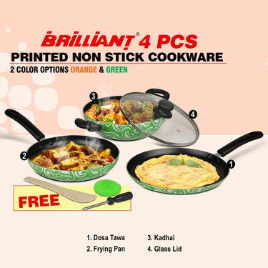 Brilliant 4 Pcs Printed Non Stick Cookware