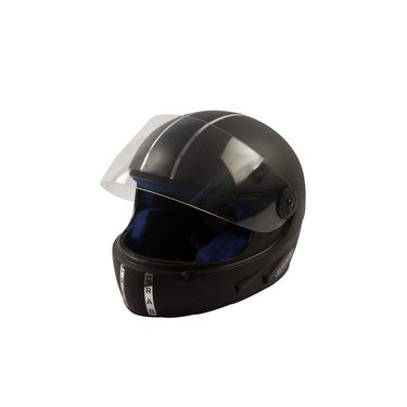 Autofurnish (CC-406) Crab Chrome Strip Full Face Helmet (Matt Black)-CC-406