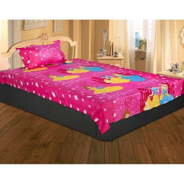 Set of 2 Chota Bheem and Beautiful Princess Kids Single Bedsheet with 2 Pillow Cover-CHFSBD103