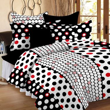 Set of 2 Double Bedsheet with 4 Pillow Cover-1227-1246
