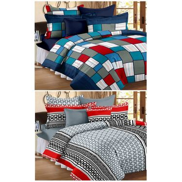 Set of 2 Double Bedsheet with 4 Pillow Cover-1253-1206