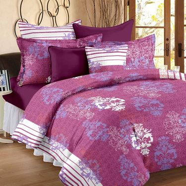 Set of 4 100% Cotton Double Bedsheet With 8 Pillow Cover-1223_46