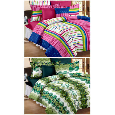 Set Of 2 Double Bedsheet With 4 Pillow Cover-CN_1237-CN1268
