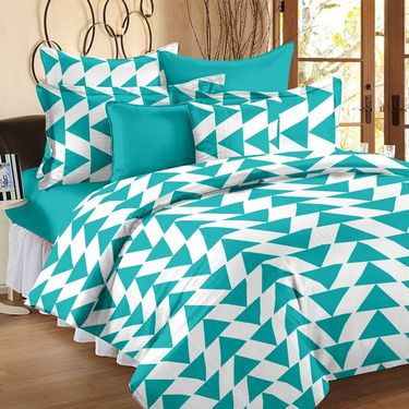 Combo of 100% Cotton Double Bedsheet, Blanket, Curtain Set & Hand Towel Set-CN_1403