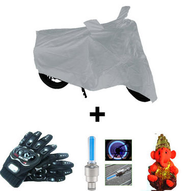 Combo of Bike Body Cover + ProBiker Gloves + Flash Wheel Lights + Hanging Ganesha for Ducati Hypermotard COMBOBKSilver-DCTI4