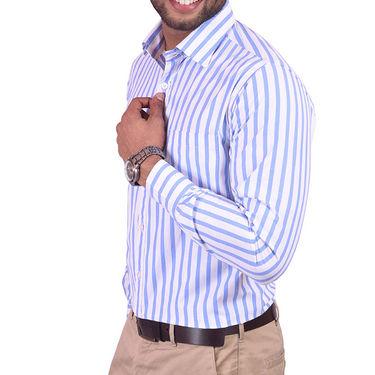 Copperline Stripes Full Sleeves Cotton Shirt For Men_cpl0985 - White & Blue