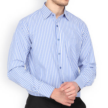 Copperline Stripes Full Sleeves Cotton Shirt For Men_cpl1012 - Blue & White