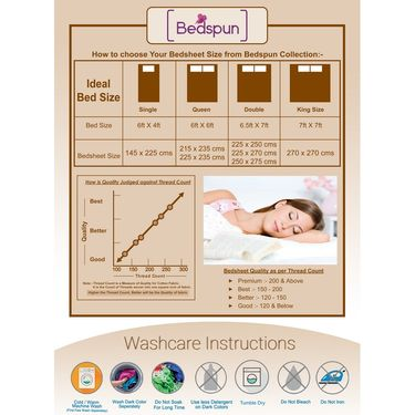 Bedspun 100% Cotton Double Bedsheet With 2 Pillow Covers-CR1401