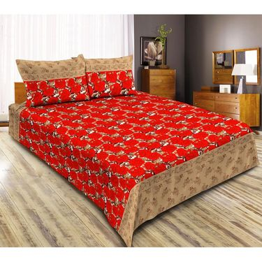 Exclusive 1 Double Bedsheet with 2 Pillow Covers-CRH-DB341