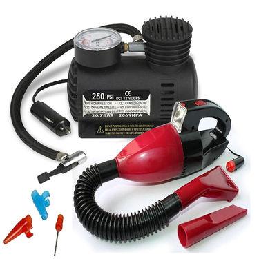Combo of Car Vacuum Cleaner + Air Compressor