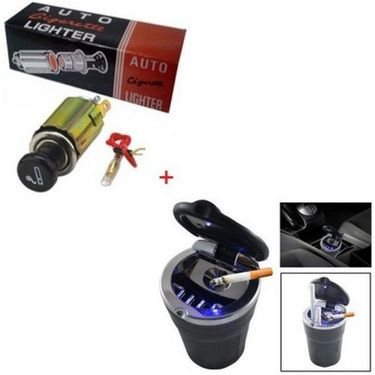 Autostark Combo of Cigarette Lighter Cum Adaptor +Ashtray Led Light