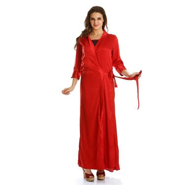 Clovia Satin Plain Nightwear - Red - NS0271E04