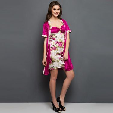 Clovia Satin Printed Nightwear - Red - NSC312P22